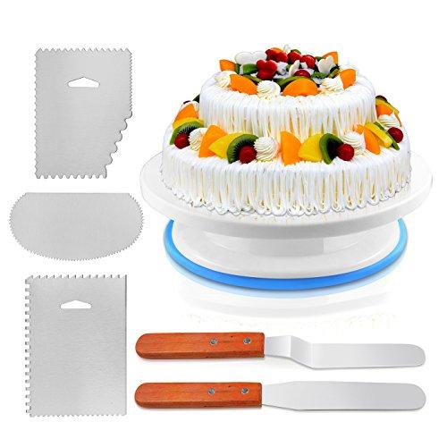 Tortenplatte drehbar 27 cm inkl. Heber Kunststoff Mit 3 Dekorieren Kamm / Icing Smoother, 2 Icing Spatel mit Seiten und abgewinkelt