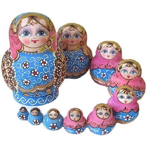 10-pack figurine Russian folk art light blue pink x M010 clean matryoshka dolls (japan import)