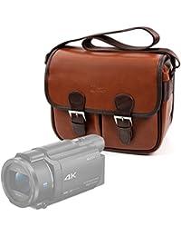 DURAGADGET Bolsa profesional marrón con compartimentos para Videocámara Sony Handycam FDR-AX53 | HDRAS50B.CEN | HDRCX625B.CEN | SEREE HDV-S5