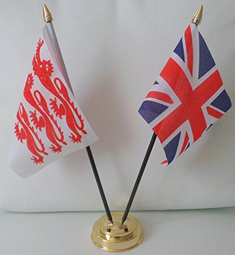 Dorset County Flagge Union Jack Old Lions Freundschaft Tabelle 2-Kopf mit goldfarbenem Sockel -