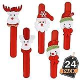 Set da 24 Pezzi Braccialetti a Scatto da Polso di Natale Accessori Natalizi alla Moda per Riempire Calze Bomboniere e Omaggi