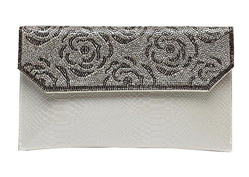 Frauen-Handtasche-Schulter-Abend-Handtaschen-Einkaufstasche Weiß