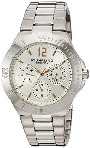 Stuhrling Original 558.01 Orologio da Polso, Display Cronografo, Donna, Cinturino Acciaio Inox, Argento