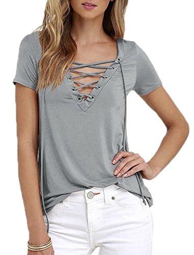 Bigood Femme T-shirt Manches Courtes Blouse Chemise Mode Uni Gris