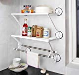 #3: Urbancart Wall Mounted Plastic Kitchen/Bathroom Storage Organizer Shelf Rack with Stainless Steel Rod Hanger (User Manual Inside for DIY Installation)