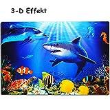 alles-meine GmbH 3-D Effekt _ Unterlage -  Hai Fisch & Delfin / Korallenriff - Meeresbewohner  - 40 cm * 30 cm - als Platzdeckchen / Tischunterlage / Malunterlage / Knetunte..