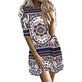 ZEELIY- Kleid Damen Sommer Bedrucktes O-Neck Kurzarm Easy Mini Dress