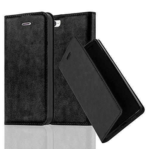 Cadorabo Hülle für Apple iPhone 5 / iPhone 5S / iPhone SE - Hülle in NACHT SCHWARZ - Handyhülle mit Magnetverschluss, Standfunktion & Kartenfach - Case Cover Schutzhülle Etui Tasche Book Klapp Style