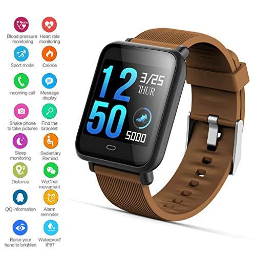 EJOLG IP67 Wasserdichte Smartwatch Unisex,mit Fitness trackers Pulsmesser Kalorienzähler schrittzähler usw.Unterstützt Mehrere Sprache,Damen und Herren Fitness Armband Uhr,A