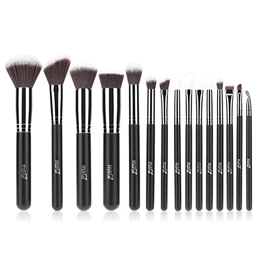 MSQ Makeup Brush Set 15pcs Professional Cosmetic Brushes with Soft Natural / Synthetic Hair, Wood Handle for Foundation, Powder, BB Cream, Eyeliner, Concealer