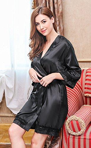 HOTOUCH Damen Morgenmantel Satin Kimono Bademantel Nachthemd Negligee Nachtwäsche Pyjama Set Seidenrobe Schlafanzüge Mit Blumenspitze Schwarz