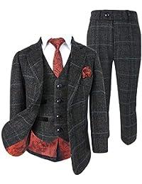 b384cac4e Designer Boys Classic Retro Check Tweed Suits Dark Grey