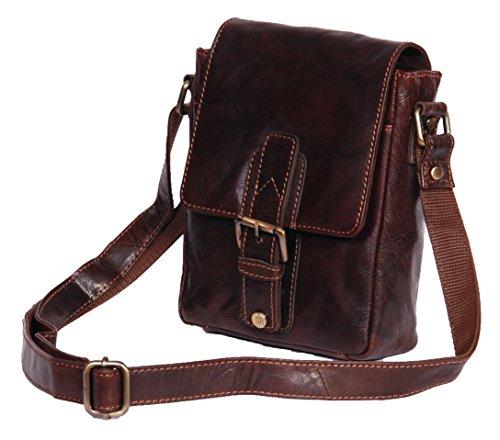 Herren Echtes Leder Kreuz Körper Kurier Beutel beiläufige Spielraum Schulter Vintage Look Tasche A120 Braun (Tasche Zip Klappe Schulter)