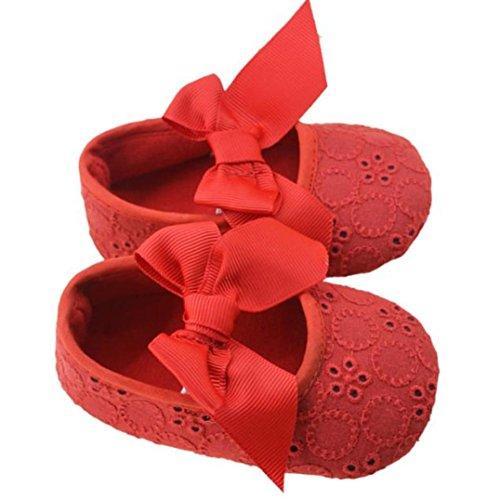 JIANGFU Baby, Kleinkind Schuhe,Säuglingsmädchen Baumwollband Bowknot Weiche Unterseite Blume Prewalker (13, RD)