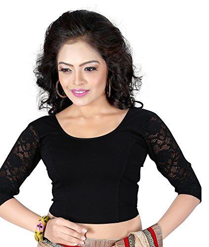 Plain Cotton Lycra readymade blouse (Black)