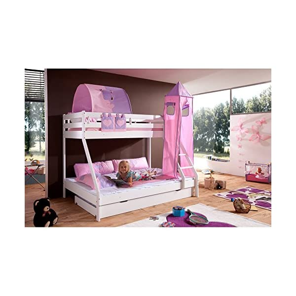 Relita Mike Bunk Bed with Bed Drawers and 3Pieces TEXTILS. Pink/Purple, Made of Solid Beech Wood White Lacquered Relita Width approx in cm: 155 Length approx. in cm: 210 Height approx. in cm: 160 1