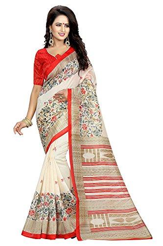Clothsfab Women's Cotton Silk Ready Pleated Saree (All Variance_Cream)