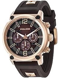 Police Reloj de Hombre Armor de Cuarzo con esfera marrón pantalla cronógrafa y correa de silicona marrón 14378JSR/12P