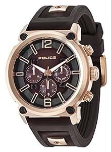 Police Armor 14378JSR/12P - Mouvement Cristal de roche - Affichage Chronographe - Bracelet Silicone Marron et Cadran Marron - Homme