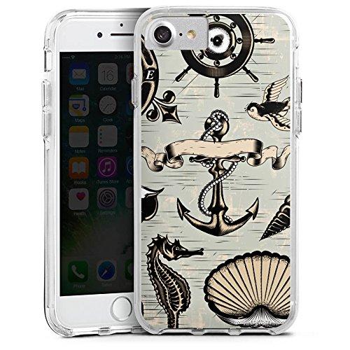 Apple iPhone 6 Bumper Hülle Bumper Case Glitzer Hülle Anchor Anker Seefahrer Bumper Case transparent