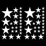 Estrella etiqueta conjunto el relleno de pegatinas, blanco 14x 2,5 cm, 6x 5 cm, 2x 7,5 cm, 1x 10 cm