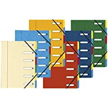 Exacompta Harmonika Multipart File, Expanding Spine, A4, 6 Sections - Assorted Colours, Pack of 8