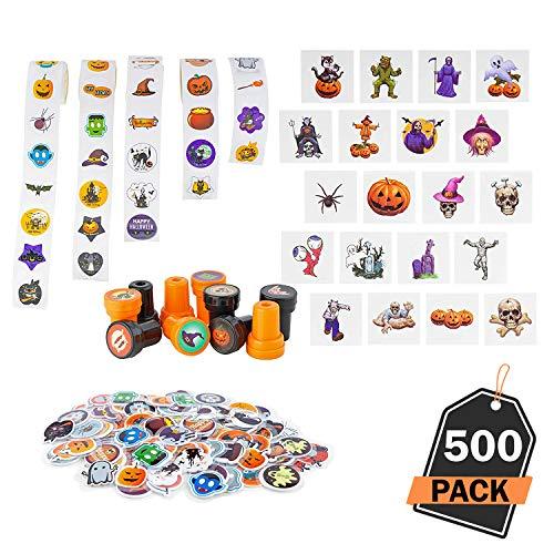 Kompanion 500 Stück Halloween Basteln Set, Aufkleber und Requisiten, Halloween Kunst und Basteln, ideal für Kinder.