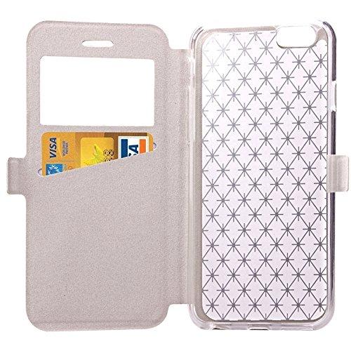 Phone case & Hülle Für iPhone 6 / 6s, Argyles Textur Horizontale Flip Solid Farbe Leder Tasche mit Halter & Card Slot & Call Display ID ( Color : White ) White