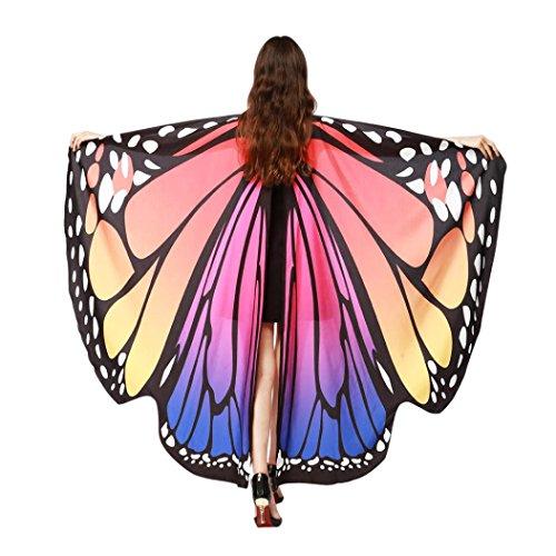 ❤️schmetterling kostüm, KOBAY Frauen Weiches Gewebe Schmetterlingsflügel Schal Fee Damen Nymph Pixie Kostüm Zubehör für Show/Daily/Party (168 * 135CM, Heiß - Hübsche Frau Kostüm