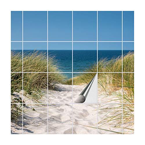 Meer Bad (FoLIESEN Fliesenaufkleber für Bad und Küche   Fliesenposter Weg ans Meer   Fliesengröße 20x25 cm (LxB)   Fliesenbild 28 TLG. - 140x100 cm (LxB))