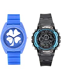 Fantasy World Blue Watch And Sport Watch Combo For Boys And Girls