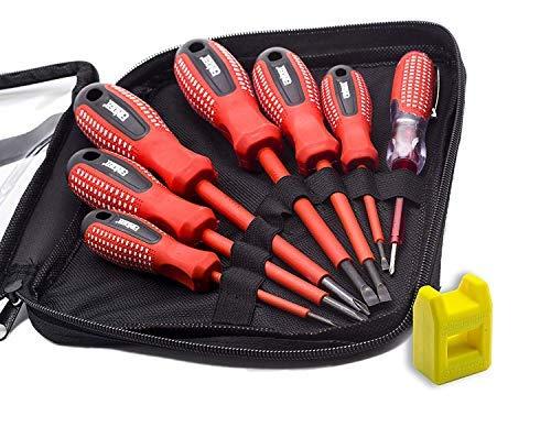 Finder 7pz professionale elettricista cacciavite, set con borsa, cercafase, livello industriale in acciaio al cromo vanadio, punte magnetiche, rosso e nero