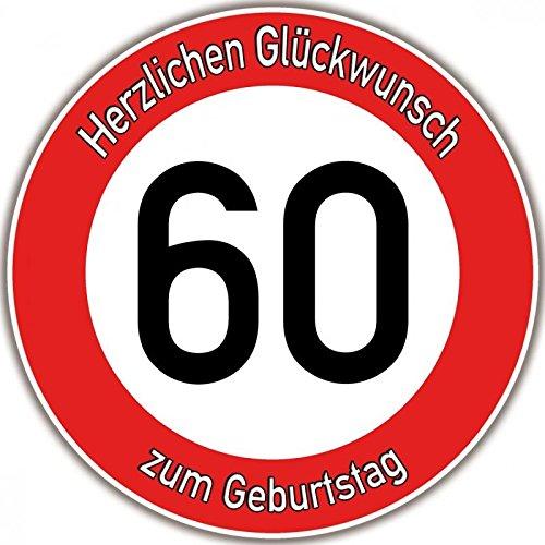 Tortenaufleger Fototorte Tortenbild Warnschild 60. Geburtstag rund 14 cm GB09