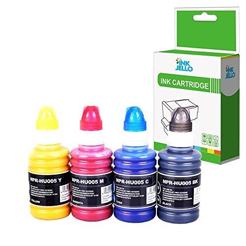 Inkjello Kompatibel Refill 100ML Pigment Tinte für HP Officejet Pro X451dw X476dw X551dw X576dw/ PageWide Pro 452dw 452dwt 477dw 477dwt/ Officejet Pro 7740 8210 8218 8710 8715 8716 (B/C/M/Y, 4-Pack) - Tinte Pigment Schwarz Refill