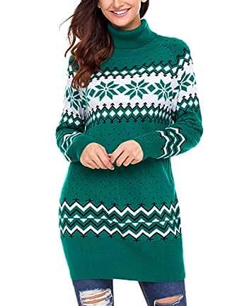 c41eda035c GOSOPIN Womens Turtleneck Jumper Oversize Long Sleeve Knitted Long Sleeve Sweater  Pullovers Green Large