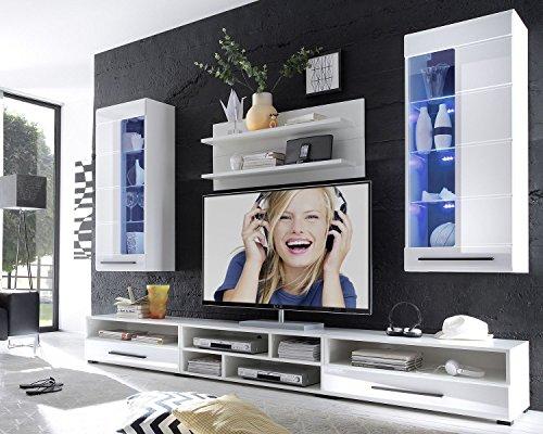 AVANTI TRENDSTORE – Wohnwand mit LED Beleuchtung in weiß/Hochglanz Dekor