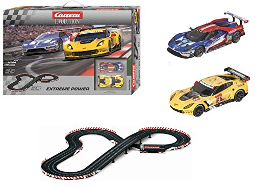 Carrera Evolution - Circuito Extreme Power con Coches de Juguete Chevrolet Corvette C7.R No.03 y Ford GT Race Car, 6.3 m (20025218)