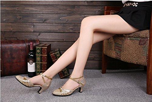 TMKOO& latino scarpe estivi donna scarpe nuove adulto amicizia ballo inferiore molle scarpe da ballo scarpe moderne quadrati ( Color : Rosso , Dimensione : 41 ) Gold