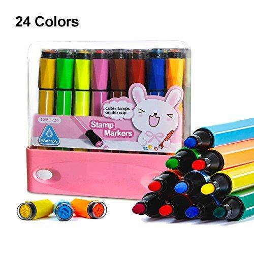 Hapree, 24 pennarelli acquerellabili con timbri, lavabili, atossici, colorati, per disegnare, scarabocchiare e colorare