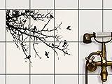 creatisto Fliesenspiegel Dekorationssticker | Fliesen-Sticker Aufkleber Folie selbstklebend Bad renovieren Küche Bad Ideen | 15x20 cm Design Motiv Tree and Birds 1-6 Stück
