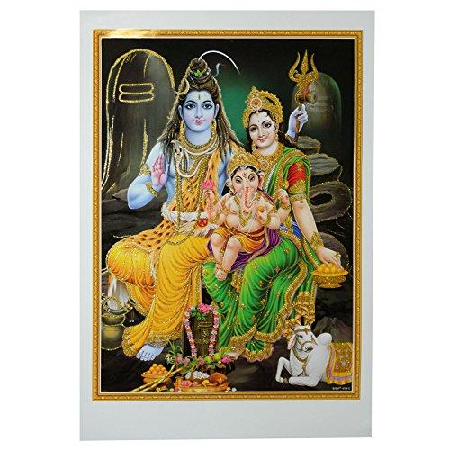 Bild Shiva & Parvati mit Ganesha 50 x 70 cm Gottheit Hinduismus Kunstdruck Plakat Poster Gold Indien Hochglanz Dekoration (Shiva-bild)