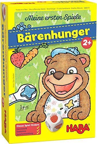 HABA 300171 - Meine ersten Spiele - Bärenhunger | Lustige Spielesammlung für 1-3 Spieler ab 2 Jahren | Mit süßem Bären-Aufsteller zum Füttern