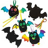 Baker Ross Adornos de murciélagos para rascar (Pack de 10), Ideales para Manualidades y Decoraciones Infantiles de Halloween