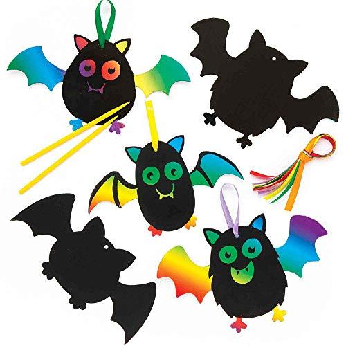 """Baker Ross Kratzbild-Dekoration """"Fledermaus"""" für Kinder – für Bastelarbeiten und Dekorationen zu Halloween (10 Stück)"""