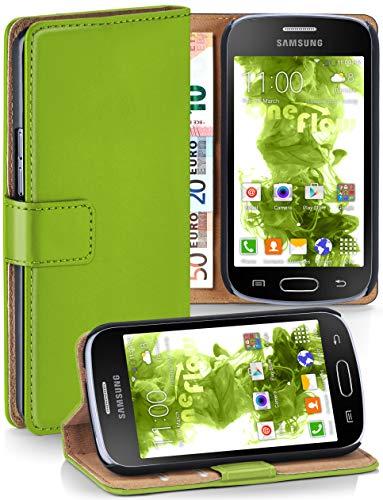 moex Samsung Galaxy Trend Plus | Hülle Grün mit Karten-Fach 360° Book Klapp-Hülle Handytasche Kunst-Leder Handyhülle für Samsung Galaxy Trend Plus/Trend Case Flip Cover Schutzhülle Tasche