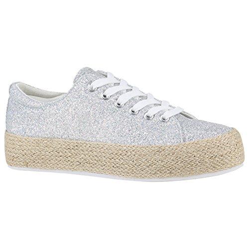 Stivali Paradiso Plateau Sneaker Stampe Metallico Piattaforma Scarpe Anni 90 Look Sneakers Tessuto Scarpe Stringate Stampe Floreali Glitter Flandell Argento Bast Glitter