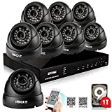 ZOSI 8 Kanal CCTV Tag/Nacht Überwachungssystem 8Stk. Outdoor 800TVL Video Kamera Sicherheitskamera mit 8CH H.264 DVR Recorder 1TB HDD, Haussicherheit