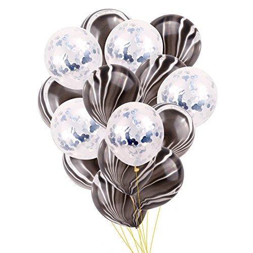 Juego de 20 globos de confeti de 30 cm de látex de mármol para fiesta, decoración de boda negro/plateado