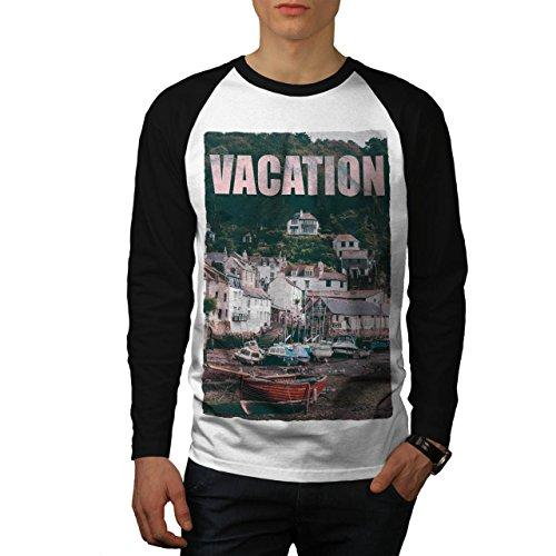 wellcoda Ferien Reise Mode Trocken Land Männer L Baseball LS T-Shirt (Land-baseball-jersey)