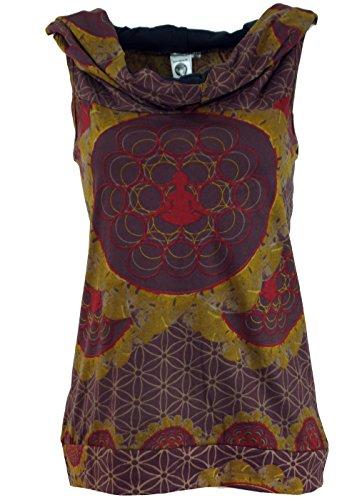 GURU-SHOP, Camisetas con Capucha Buddha Mandala, Camiseta para el Festival de Goa, Marrón Moca, Algodón, Tamaño:M/L (38/40), Camisetas, Camisetas, Camisetas